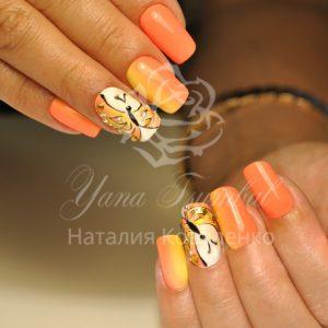 Коррекция ногтей гелем с покрытием гель лаком Дизайн бабочки