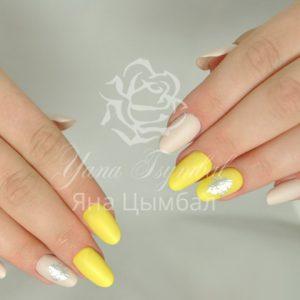 Коррекция ногтей под лак с покрытием гель лаком бежевого и желтого цветов