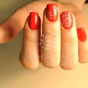 Ногти гель лак красного цвета