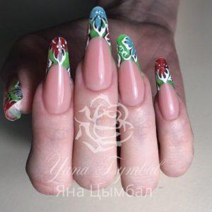 Наращивание ногтей гелем арт френч цветы