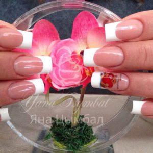 Наращивание ногтей гелем белый френч и слайдеры для ногтей
