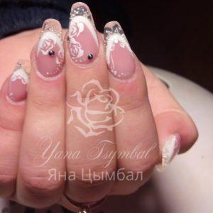 Фото Наращивание ногтей гелем свадебный френч