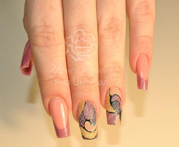 Наращивание ногтей гелем френч с дизайном Яна Цымбал