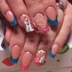 Наращивание ногтей гелем разноцветный фан френч с рисунком зимняя тематика