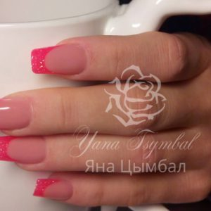 Наращивание ногтей гелем фан френч розовый