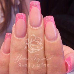 Наращивание ногтей гелем выкладной фан френч розовый