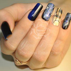 Наращивание ногтей гелем с покрытием гель лаком и дизайном