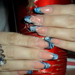 Наращивание ногтей гелем салонный миндаль