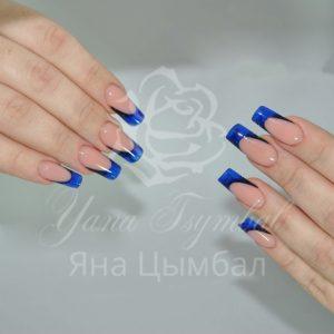 Наращивание ногтей гелем арт френч синий