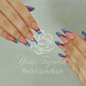 Наращивание ногтей гелем современный миндаль арт френч