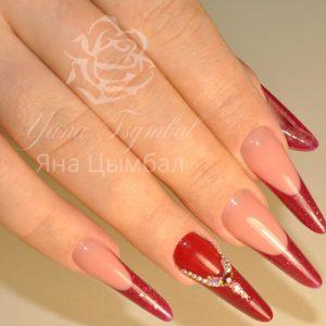 Наращивание ногтей гелем фрнеч красного цвета с инкрустацией камнями