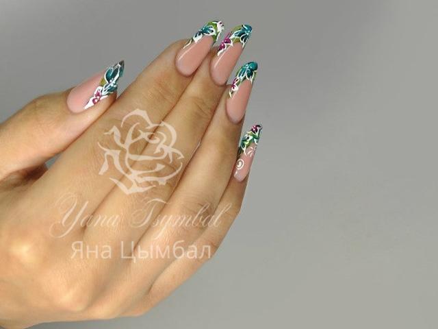 Наращивание ногтей гелем арт френч витражные цветы