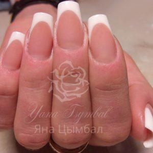 Наращивание ногтей гелем выкладной френч белый