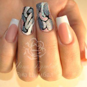 Наращивание ногтей гелем выкладной френч с дизайном из песка