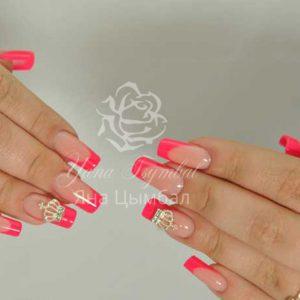 Наращивание ногтей гелем выкладной френч розовый