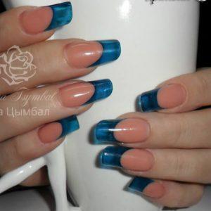 Наращивание ногтей гелем выкладной синий френч
