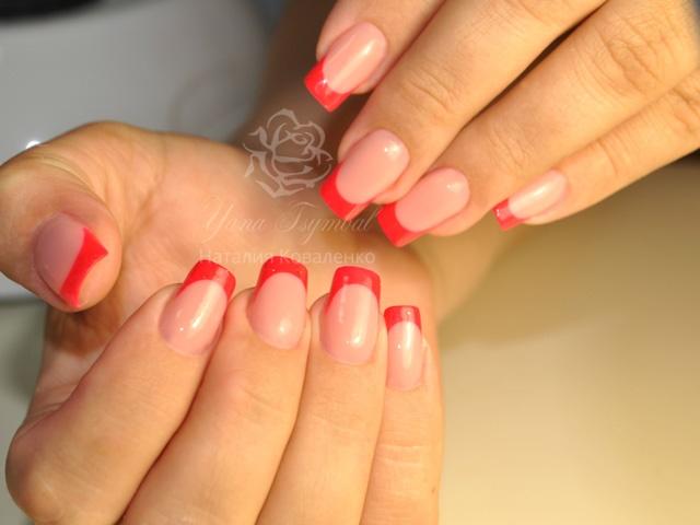 Наращивание ногтей гелем выкладной цветной френч