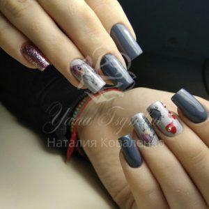 Коррекция арочных-гелевых ногтей с дизайном