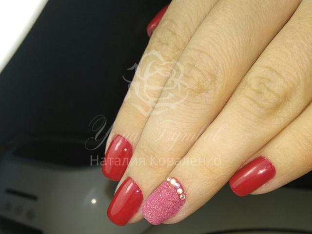 Коррекция гелевых ногтей красный гель лак