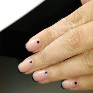Маникюр с покрытием гель лаком черный френч